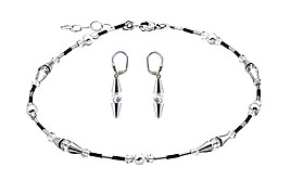 SWAROVSKI (R) crystals in combination with: BELLASIX (R) jewellery set_1761_k_1761_o 925 silver clasp Bergkristall bicolor black