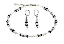 SWAROVSKI (R) crystals in combination with: BELLASIX (R) jewellery set_1762_k_1762_o2 925 silver clasp bicolor hand-engraved manufactured handwork