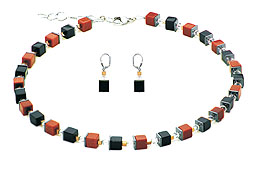 SWAROVSKI (R) crystals in combination with: BELLASIX (R) jewellery set_1763_k_1763_o2 925 silver clasp goldstone onyx hematine