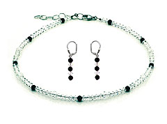 SWAROVSKI (R) crystals in combination with: BELLASIX (R) jewellery set_1769_k_1769_o 925 silver clasp black onyx wedding jewellery