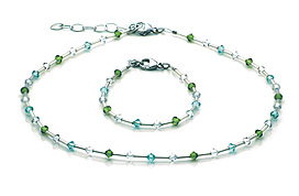 SWAROVSKI (R) crystals in combination with: BELLASIX (R) jewellery set_1771_k_1771_a 925 silver clasp green blue silber-farben