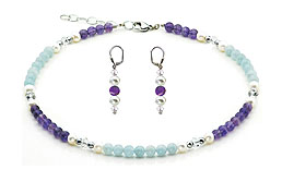SWAROVSKI (R) crystals in combination with: BELLASIX (R) jewellery set_1774_k_1809_o4 925 silver clasp aquamarine amethyst