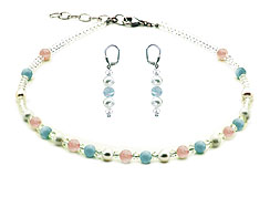 SWAROVSKI (R) crystals in combination with: BELLASIX (R) jewellery set_1775_k_1809_o2 925 silver clasp aquamarine rose quartz
