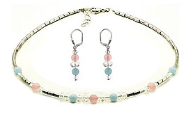 SWAROVSKI (R) crystals in combination with: BELLASIX (R) jewellery set_1776_k_1776_o1 925 silver clasp aquamarine rose quartz hematine blue rose