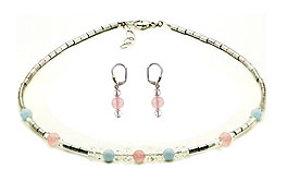SWAROVSKI (R) crystals in combination with: BELLASIX (R) jewellery set_1776_k_1776_o2 925 silver clasp aquamarine rose quartz hematine blue rose