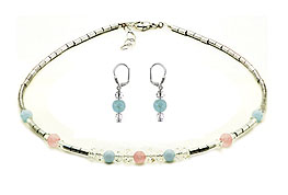 SWAROVSKI (R) crystals in combination with: BELLASIX (R) jewellery set_1776_k_1776_o3 925 silver clasp aquamarine rose quartz hematine blue rose