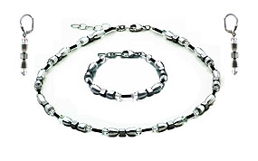 SWAROVSKI (R) crystals in combination with: BELLASIX (R) jewellery set_1779_k_1854_a_1779_o 925 silver clasp hematine