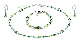SWAROVSKI (R) crystals in combination with: BELLASIX (R) jewellery set_1795_k_1795_a_1718_o2 925 silver clasp green blue