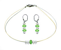SWAROVSKI (R) crystals in combination with: BELLASIX (R) jewellery set_1801_k_1807_o3 925 silver clasp green bicolor 24-carat-gold-plated (yellow-Gold)