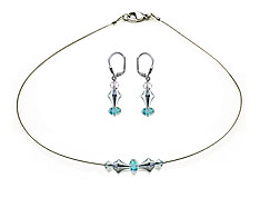 SWAROVSKI (R) crystals in combination with: BELLASIX (R) jewellery set_1820_k_1823_o 925 silver clasp blue wedding jewellery