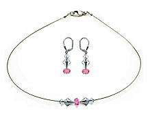 SWAROVSKI (R) crystals in combination with: BELLASIX (R) jewellery set_1821_k_1826_o 925 silver clasp rose wedding jewellery