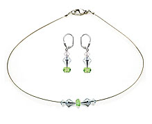 SWAROVSKI (R) crystals in combination with: BELLASIX (R) jewellery set_1822_k_1825_o 925 silver clasp green wedding jewellery