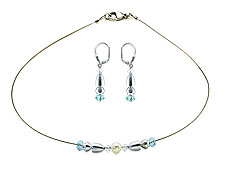 SWAROVSKI (R) crystals in combination with: BELLASIX (R) jewellery set_1831_k_1840_o 925 silver clasp blue wedding jewellery