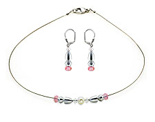 SWAROVSKI (R) crystals in combination with: BELLASIX (R) jewellery set_1832_k_1842_o 925 silver clasp rose wedding jewellery