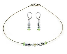 SWAROVSKI (R) crystals in combination with: BELLASIX (R) jewellery set_1833_k_1843_o 925 silver clasp green wedding jewellery
