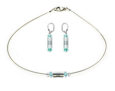SWAROVSKI (R) crystals in combination with: BELLASIX (R) jewellery set_1836_k_1831_o 925 silver clasp blue wedding jewellery