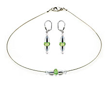 SWAROVSKI (R) crystals in combination with: BELLASIX (R) jewellery set_1838_k_1847_o 925 silver clasp green wedding jewellery