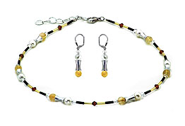 SWAROVSKI (R) crystals in combination with: BELLASIX (R) jewellery set_1907_k_1907_o 925 silver clasp bicolor citrine (yellow quartz) black